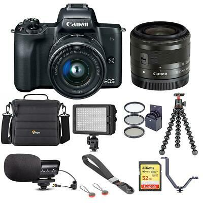 Canon EOS M50 Mirrorless Camera with 15-45mm STM Lens, Black With Accessory KIT