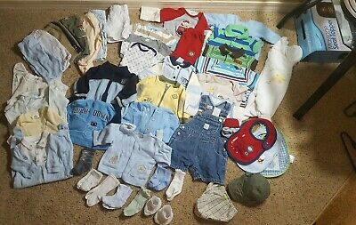 Boys' Size 0-3 months Huge Lot of 42 Gerber Gymboree Baby Gro etc EUC Great Deal
