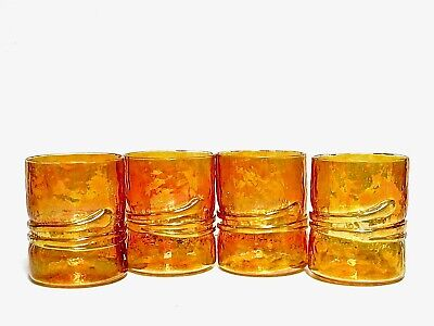 ESTEBAN PRIETO 4 IRIDESCENT AMBER GOLD HANDBLOWN LOWBALL GLASSES w/SERPENT MINTY