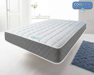 Grey Vertical Cool Blue Memory Foam Mattress, 3ft Single 4ft6 Double, 5ft King