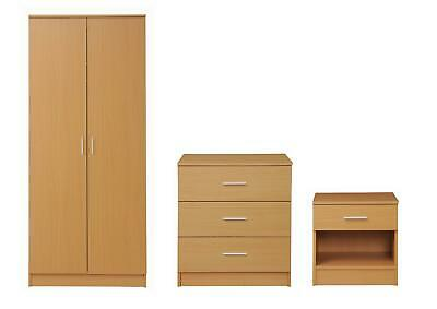 Rio Costa Beech Bedroom 3 Chest Drawers Bedside Double Wardrobe Storage
