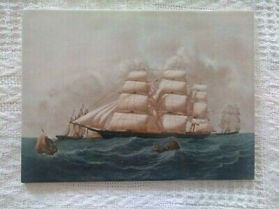 Wedgwood  Hurricane  China Tile / Plaque Clipper Ships Of America Series