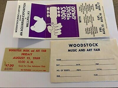 WOODSTOCK 1969 LOT $7 TICKET plus WALLKILL ORDER FORM and ENVELOPE JIMI HENDRIX