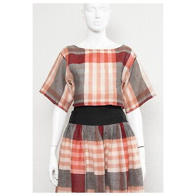 Stunning vintage 1980s check grunge CACHAREL linen skirt set