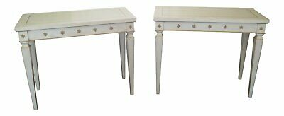 L31046/47EC: Pair Neo Classical Crackle Off White Finish Console Tables