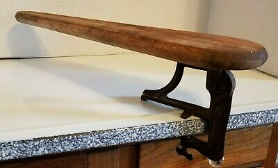 Antique Pat.1903 Wooden Sleeve Ironing Board Cast Iron Clamp On Primitive Decor