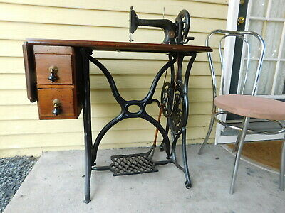 1881 New York NY Antique Singer Sewing Machine Cabinet Eastlake Handles