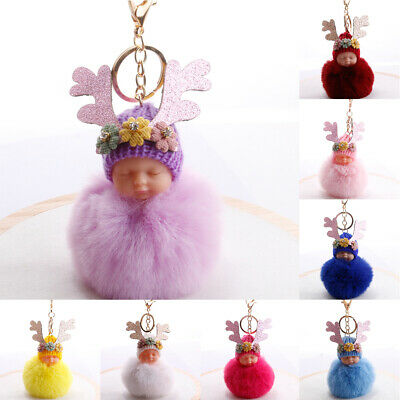 PW_ 1Pc Antlers Sleeping Baby Doll Pompom Keyring Holder Keychain Bag Pendant