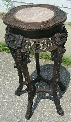 Antique highly carved oriental wood marble top stand