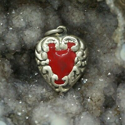 Vintage Sterling Silver Ruby Red Enamel Scroll Work Puffy Heart Bracelet Charm
