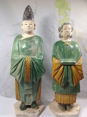 A Pair Chinese Ming Dynasty Sancai Glazed Figures