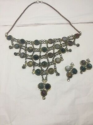 "Vtg Deco Ethnic Tribal Agate Stone Bib Necklace 18"" Around 6"" Deep Bib"