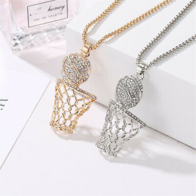 Men Women's Gold Silver Plated Iced Out Basketball Hoop Pendant Chain Necklace O