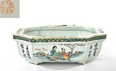 1930's Chinese Famille Rose Porcelain Planter Pot Jardiniere Calligraphy Figure
