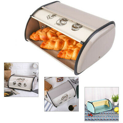 Metal Bread Box Storage Bin Kitchen Cake Food Container Holder w/ Roll Top Lid