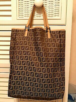 4ababc69eee FENDI ZUCCHINO BROWN And Tan Signature Print Canvas & Leather Tote Bag Purse