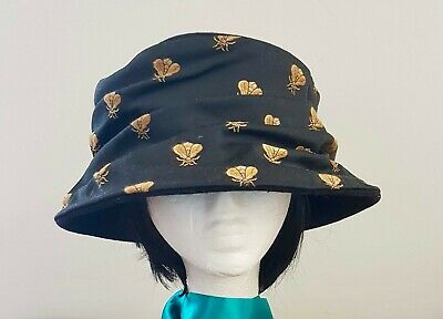 Vintage 70s BLACK Felted GOLD Bee Satin Fabric Decorated Dress Day HAT