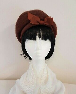 Vintage 50s KANGOL Made in England Mocha Brown Wool Day Beret HAT One Size
