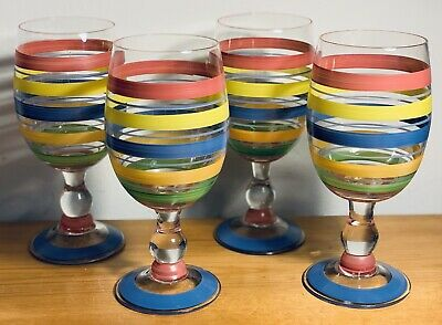 4 NEW Large Hand-Blown, Hand-Painted, Brightly Colored Striped Wine Glasses