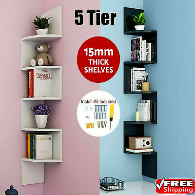 5 Tier Floating Corner Shelf Wall Shelves Storage Display Bookcase Holder Decor