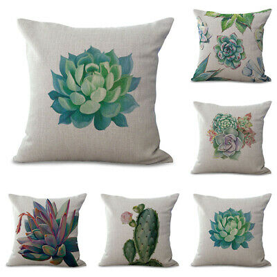 Retro Cactus Succulent Plants Cotton Linen Pillow Case Throw Cushion Cover Decor