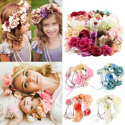 Parenting Crown Headband Rose Flower Hairband Photography Props Floral Garland