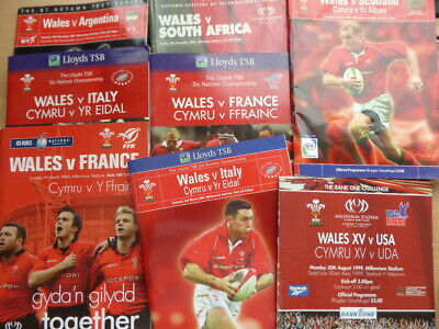 Job lot of Welsh Rugby Union Programmes, 1985 to 2006. lots with tickets