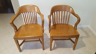 Vintage Banker Lawyer Desk Chair Arms Oak: Price is for the pair