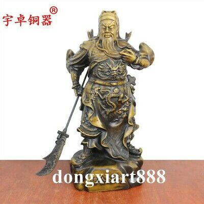 "7.9/"" China Bronze Gild Dragon Warrior God Guan Gong Yu Guan Yu Read Books Statue"