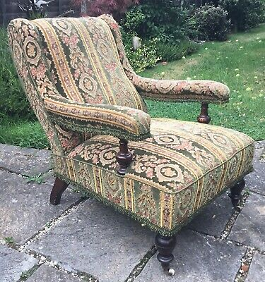Old Antique Victorian Edwardian Country House Style Carpet Chair Mahogany Frame