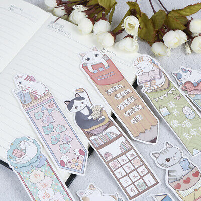 30Pcs/lot Cute Funny Cat Bookmark Paper Cartoon Animals BookmarkFEH