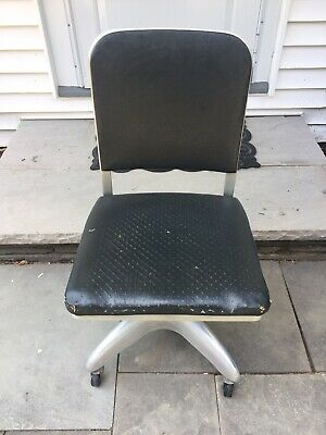 Vintage Mid-Century Modern Goodform Rolling Office Chair Aluminum Propeller Base
