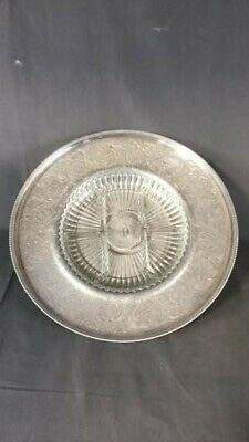 Vintage Aluminum Footed Lazy Susan Serving Tray with Glass Divided Dish