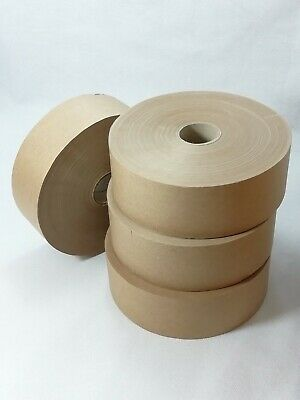 4 Rolls of Water Activated Paper Tape 48mm X 200 M Strong Tamper Proof Gummed