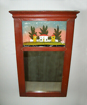 Old Antique Vtg 19th C 1840s Federal Mirror With House Painting Wooden Very Nice