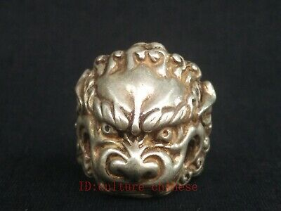EXQUISITE OLD TIBET SILVER COPPER HANDMADE Owl vstatue MAN RING COLLECTION RT021