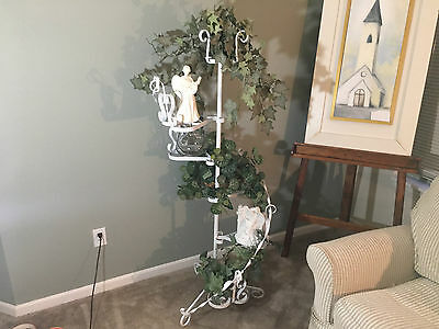 ** WOW L@@K **  FANCY Vintage 6 TIER White Wrought Iron Metal Plant Stand