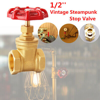 """1PC Vintage Steampunk 1/2"""" Water Pipe Lamp Stop Valve Light Switch w/ Red Handle"""