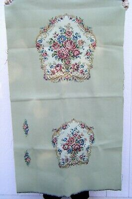 French Woven Floral Tapestry Chair Panel Back, Seat, & Arm Rests Unused Antique