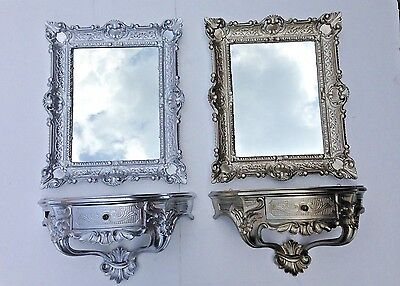 Wall Mirror with Console with Drawer Silver Tray 56X46 Baroque
