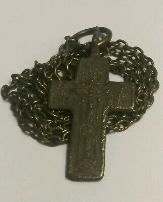 Ancient Religious Genuine Medieval Cross Pendant Necklace Artifact Very Old