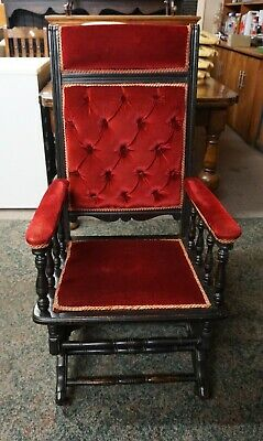 Antique Ebonised American Rocking Chair Velvet fabric