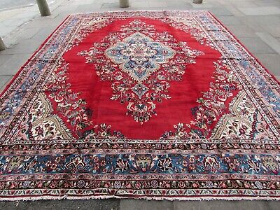 Vintage Hand Made Traditional Rug Oriental Wool Red Large Carpet 416x316cm