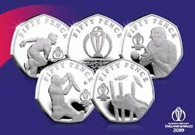 Isle Of Man 2019 ICC Cricket 5 X 50p UNC Set