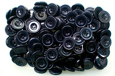 Large 28mm 44L Dark Navy Blue Light Blue Swirl Pattern 4 Hole Coat Buttons W337