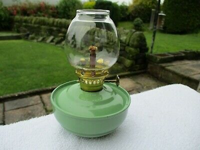 Vintage Green  Enamel Kelly Pixie Nursery Sa-Vu Oil Lamp With Weighted Base.