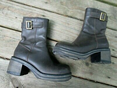 Skechers Brown Leather Boots Sz 7 Chunky 2.5