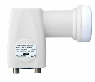 LNB Illusion Twin 0,2dB HDTV Universelle High Gain 0,2 DB - HDTV 4k - 3D