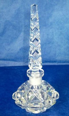 Antique Perfume Bottle, Art Deco Bohemian Crystal, Hand Cut, 1920-1930s