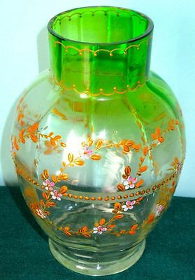 Moser Antique 19th Century Bohemian Green & Clear Glass Hand Blown Vase, Signed